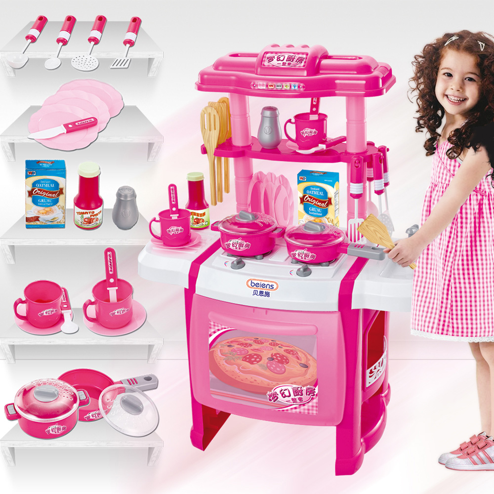 Bain shi children play house toys girl kitchen cooking cooking utensils cutlery sets play house toys
