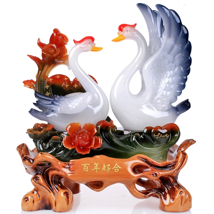 Bainianhaoge swan ornaments wedding gift ideas wedding gift new home furnishings home decorations living room tv cabinet