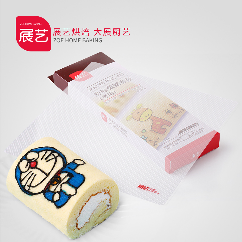 Baking arts exhibition palace limbus sided transparent painted cake roll mat silicone cake roll mat impression transfer pad