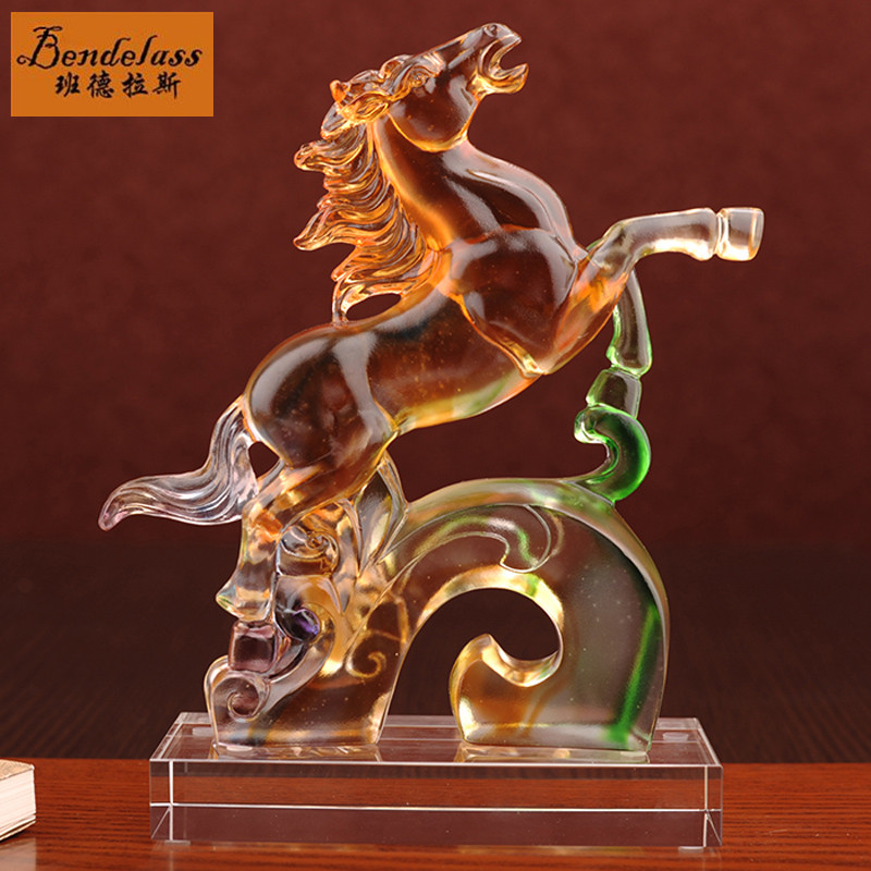 Banderas healing glass horse ornaments living room clubhouse office desktop decoration ornaments fashion home