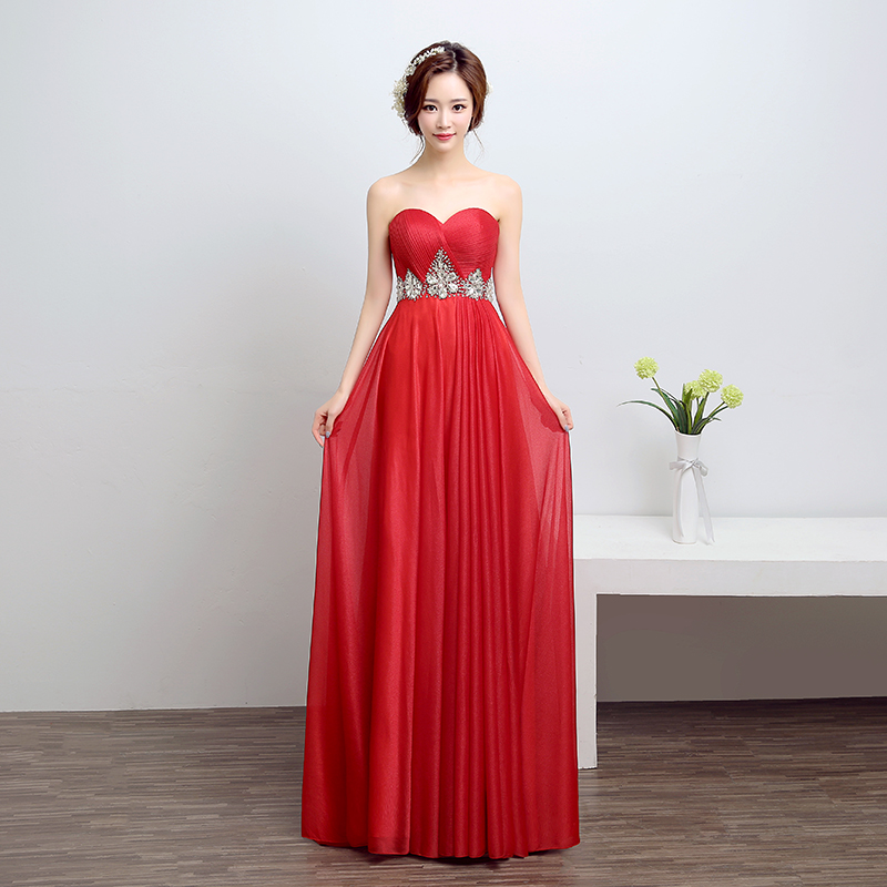 Banquet evening dress 2016 new evening dress long section moderator even temperament elegant strapless dress slim female