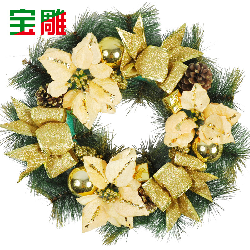 Bao carved christmas decorations christmas gifts christmas wreath decorated christmas wreath 40cm golden christmas wreath hanging