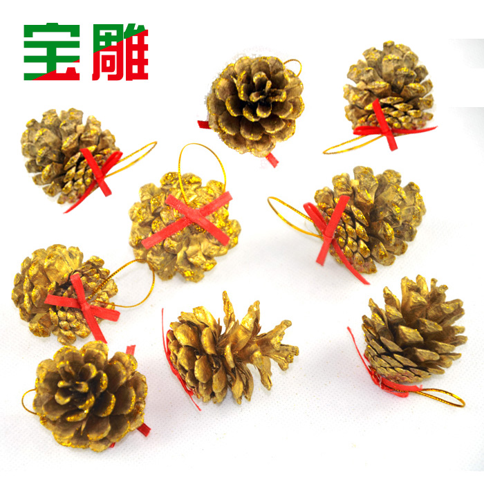 Bao carved golden pine cones christmas decorations christmas tree ornaments decorated christmas decoration accessories