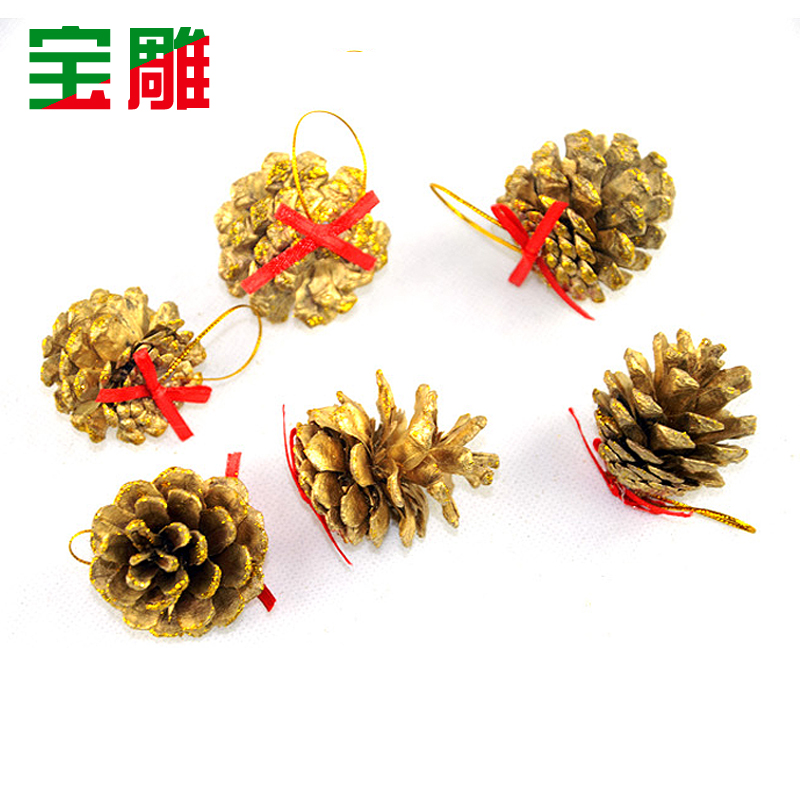 Bao carved golden pine cones christmas pinecone christmas tree decorations christmas tree ornaments accessories 6/pack