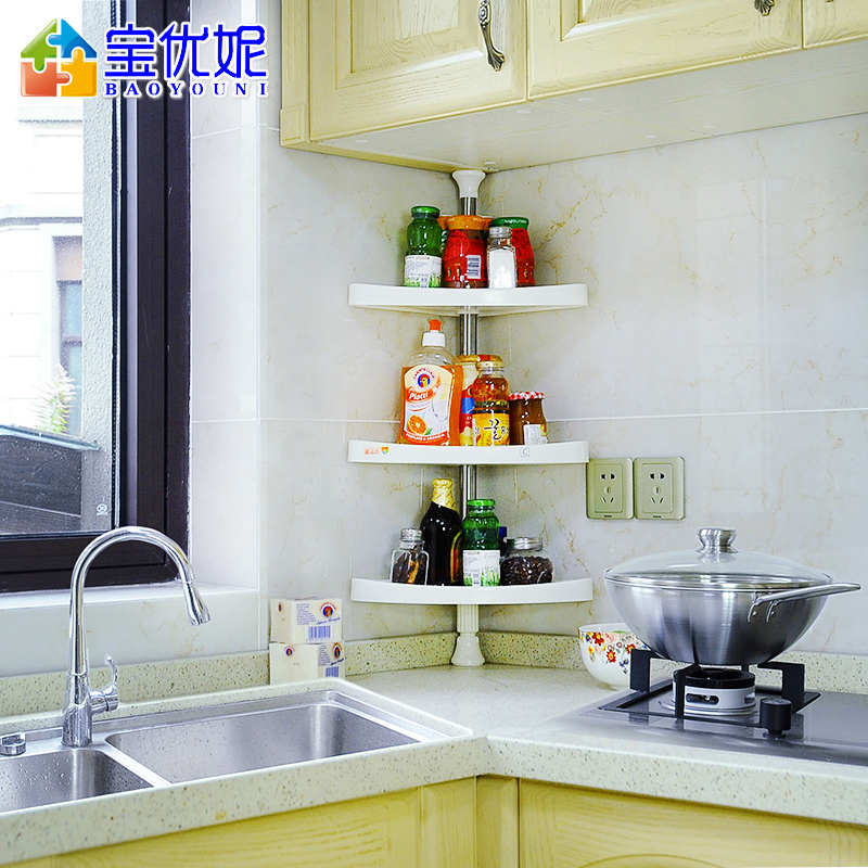 Get Quotations Bao Ni Excellent Kitchen E Rack Shelving Wall 3 Layer Storage Triangle Corner Shelf Seasoning
