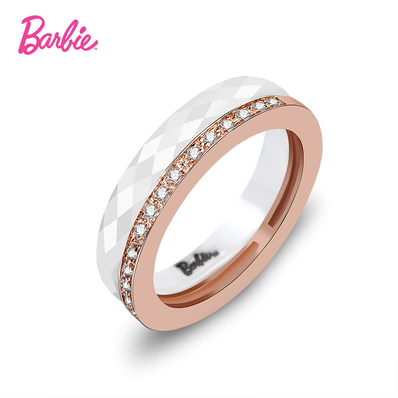 Barbie/barbie fashion and elegant jewelry class 3a zircon haunting double female ceramic ring ring