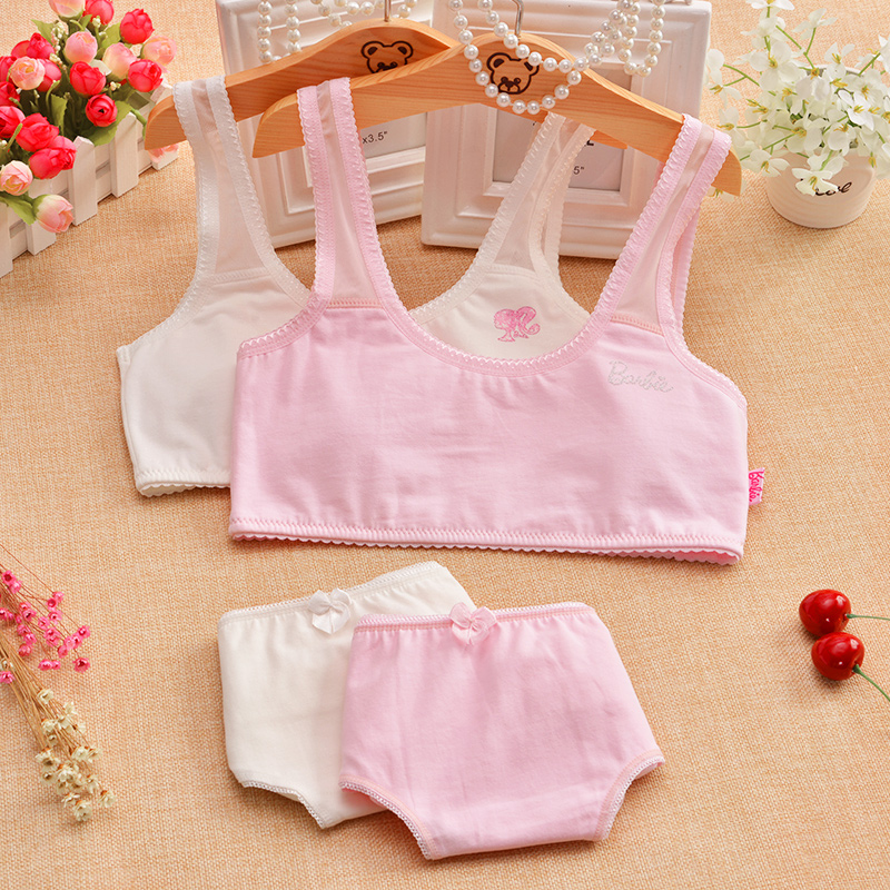 Barbie girls underwear sets cotton fabric cotton developmental students no rims thin section bra set day series summer