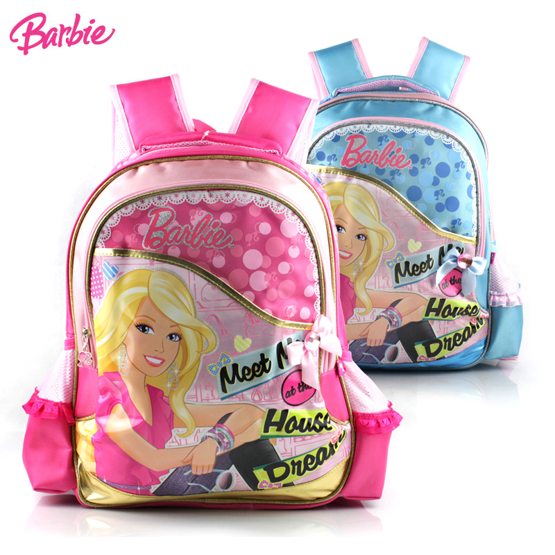 Barbie schoolbag cartoon students grades schoolbag shoulder bag cute baby girls cartoon princess bag