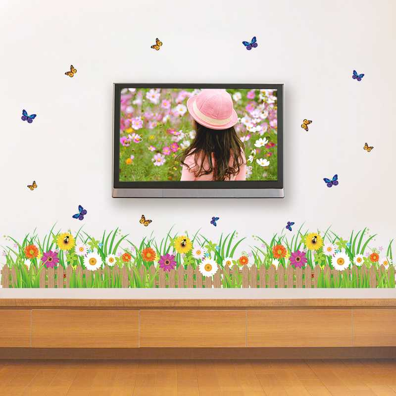 Baseboard foot line waistline fence flower wall stickers living room bedroom creative pastoral small bee waterproof adhesive