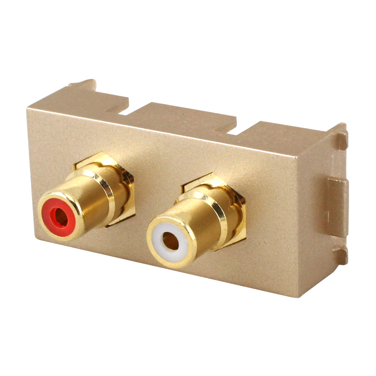 Bay bridge n86-610 (gold) 2rca audio amplifier dvd av audio line module socket champagne