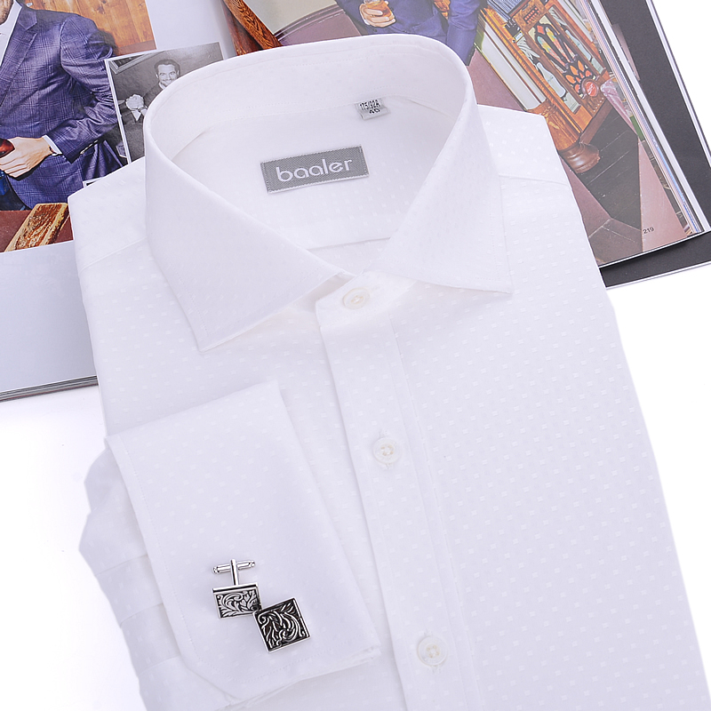 Bayer baaler french shirt long sleeve white cotton shirt slim square collar shirt wrinkle EX009