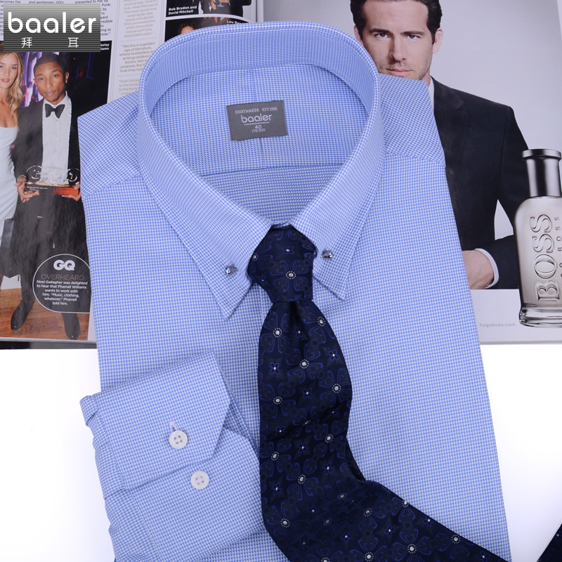 Bayer baaler shirt collar concise fashion models cotton blue classic swarovski dl-2
