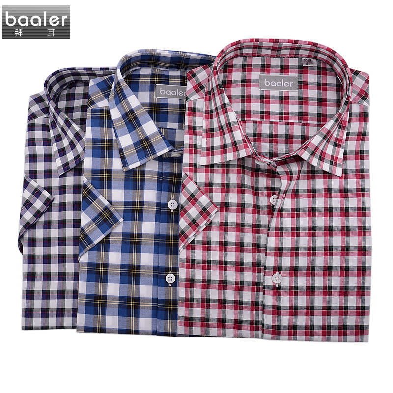 Bayer baaler shirt short sleeve shirt cotton casual plaid shirt multicolor