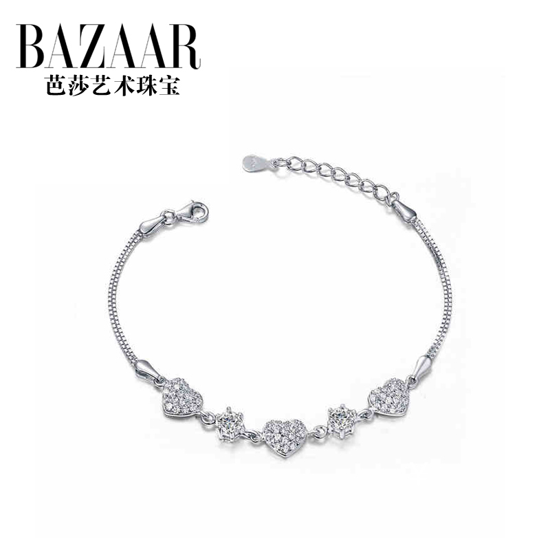Bazaar jewelry heart s925 silver bracelet sweet female fashion diamond jewelry in europe and america the situation of people gift silver jewelry female