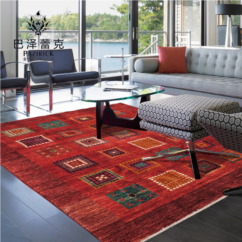 Baze leike pakistan imported handmade tribal knotted wool carpet living room coffee table bedroom