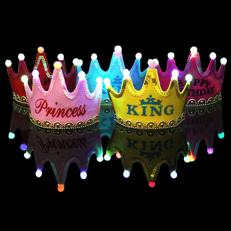 Bead wedding birthday party hats crown prince and princess birthday party hats headdress birthday party supplies luminous
