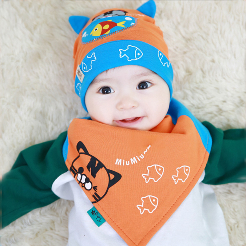Bear flower hat baby boys and girls 0--6 months baby hat cotton hedging spring and autumn paragraph sleeping hat tide shipping