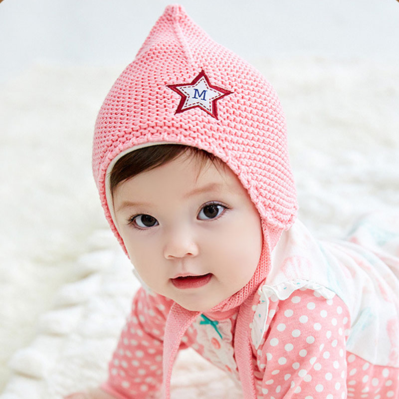74957b97a80 Get Quotations · Bears flowers in winter months newborn baby hat baby wool  cap set of head boys and