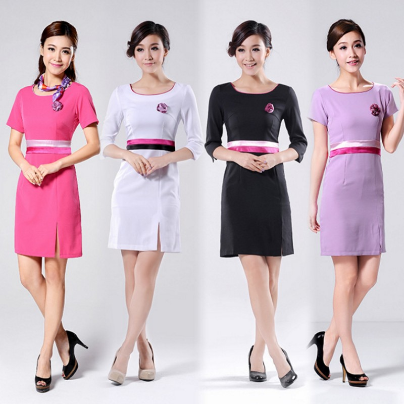 Beautician overalls summer short sleeve uniforms stewardess uniforms hotel uniforms female foot technician clothing
