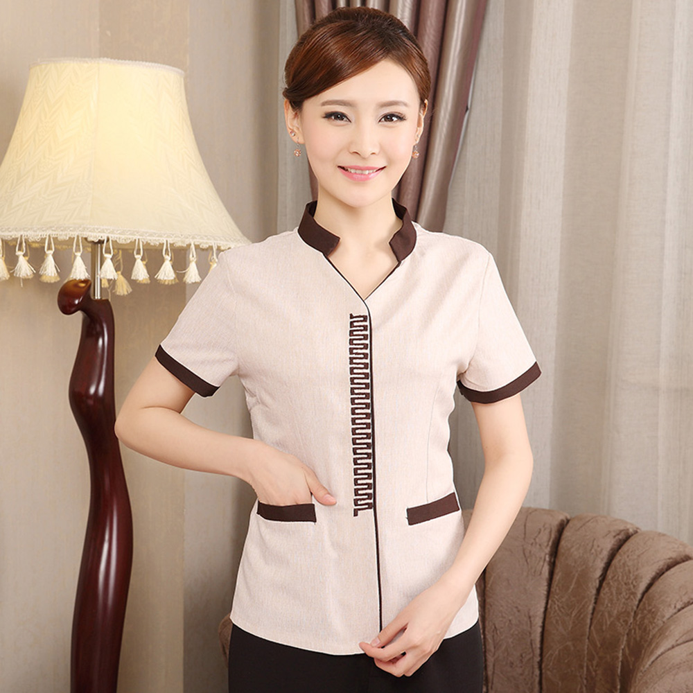 Beauty hotel uniforms summer female cleaning staff uniforms hotel room cleaners cleaning clothes short sleeve linen dress uniforms pa