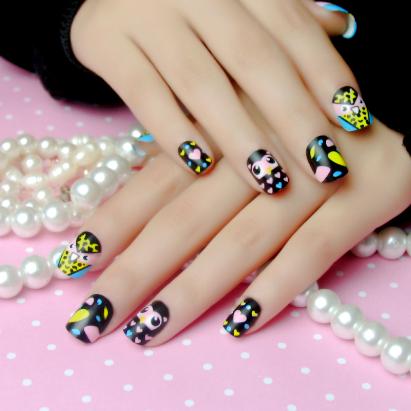 Beauty nail false nails patch a piece of finished owl cartoon color cute short paragraph 24 piece
