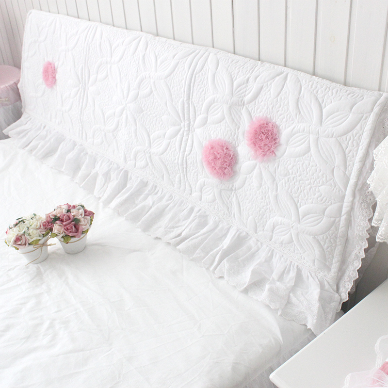 Beautydream korean style elegant three-dimensional flowers pink white ride simple quilted bed cover/cover