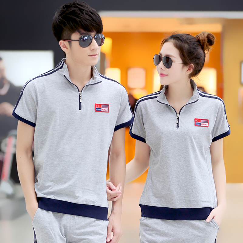 Beaver shipping new autumn leisure suit women's summer short sleeve dress pants size code couples korean version of student uniforms