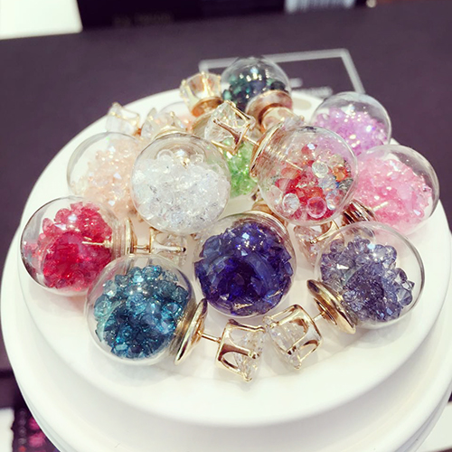 Before and after the korean version of the transparent glass ball style diamond earrings fashion wild temperament korean jewelry earrings female personality