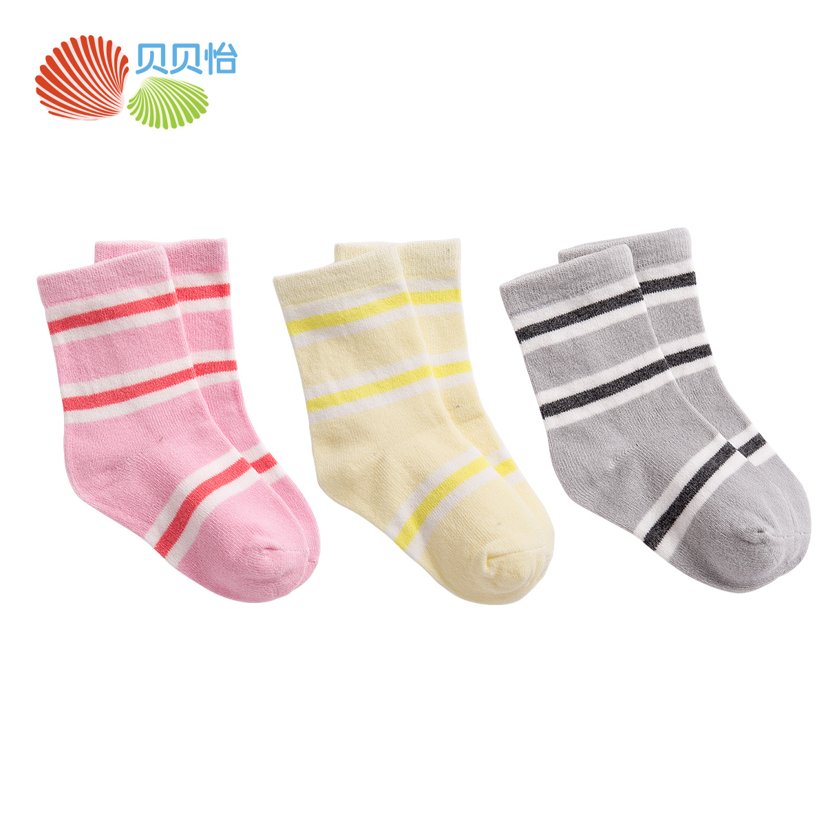 Beibei yi baby supplies seasons baby socks striped socks cotton socks for men and women soft and comfortable 3 pairs of dress 151P118