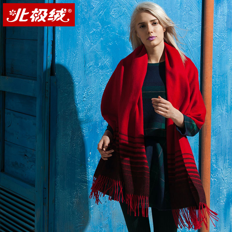 Beiji rong 100% wool shawl ms. autumn and winter scarf shawl dual female winter thick warm streak