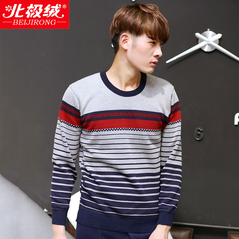 Beiji rong winter round neck jacquard thermal underwear male plus thick velvet young korean men's suits qiuyiqiuku