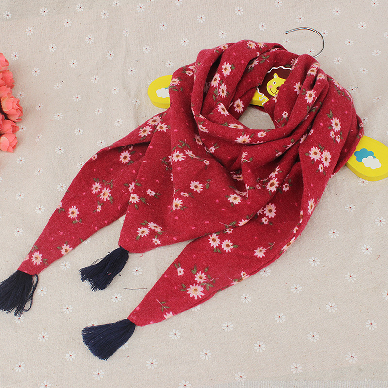 Ben hi road influx of new children's scarves scarf triangle scarf scarf autumn and winter boys and girls double cotton baby floral
