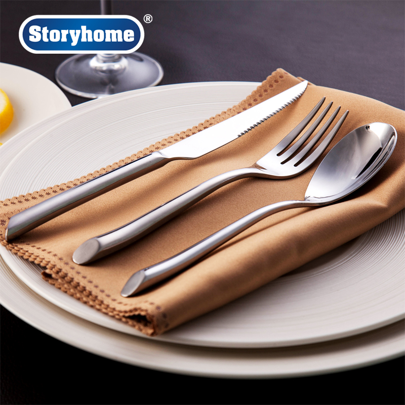 Best home amoy korea royal series stainless steel spoon western cutlery steak knife and fork spoon home two three four Piece set