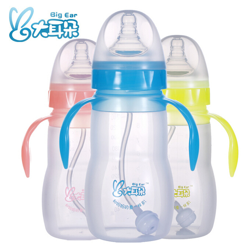 Big ears wide caliber infant feeding bottle with straw handle full silicone bottle drop resistance against flatulence discounted