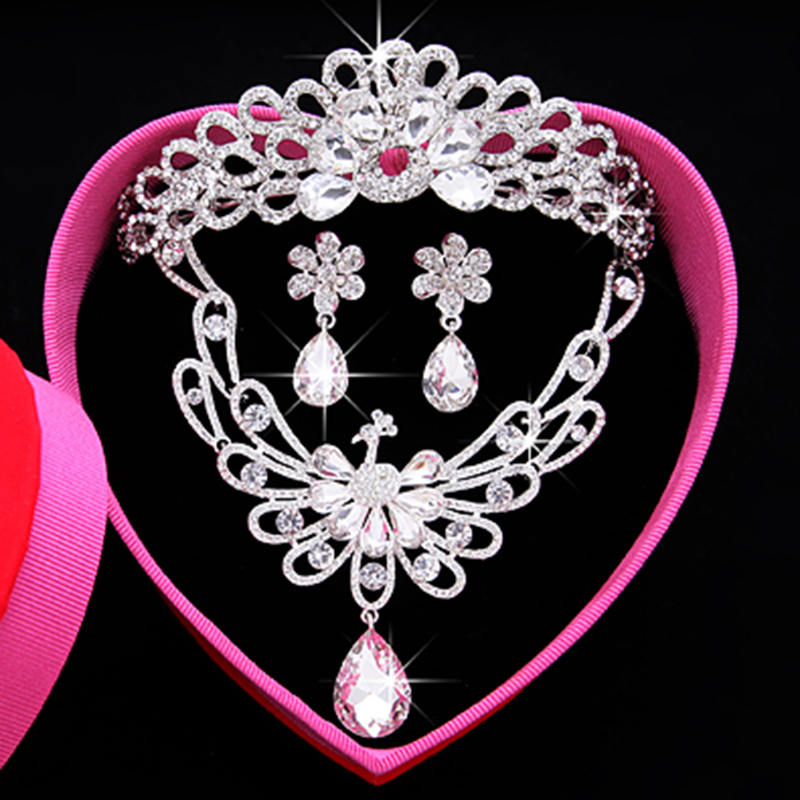 Big shiny diamond pearl crown rhinestone necklace earrings wedding dress accessories bridal headdress hair accessories wedding dress