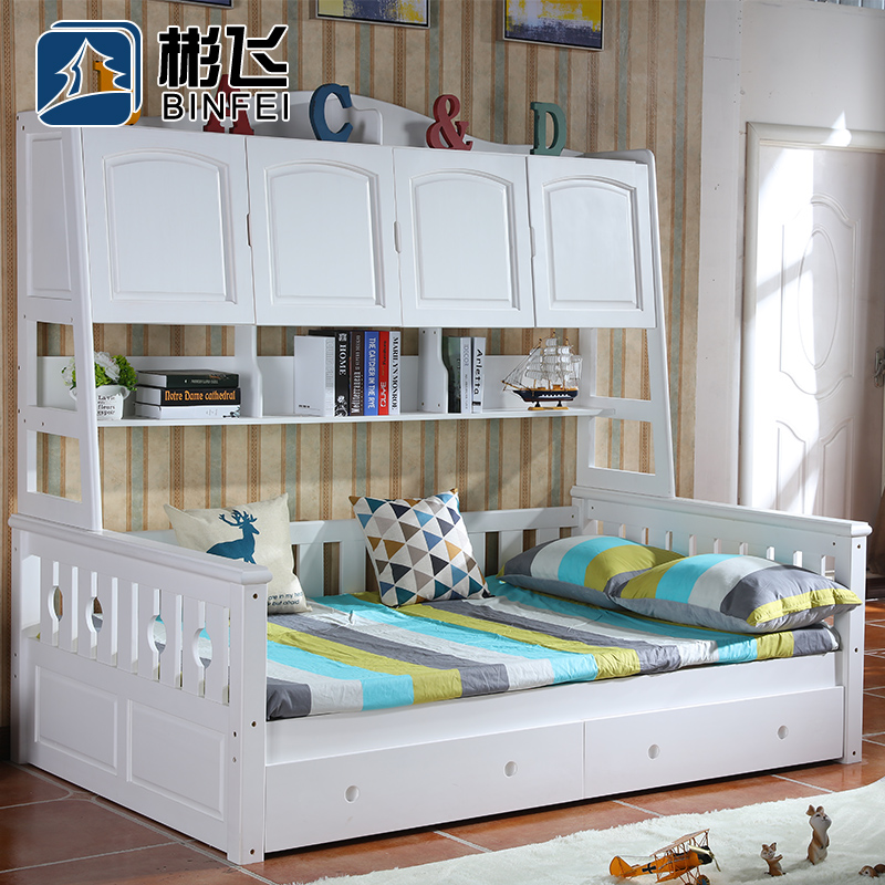 Bin fei all solid wood wardrobe closet bed bed bed korean boys and girls children's bed children's furniture storage material combination multifunctional bed