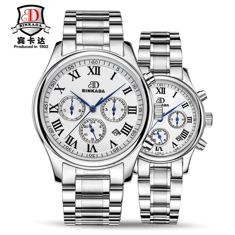 Bin kada genuine automatic mechanical men watch men and ladies watches couple watch one pair of waterproof female form of fashion