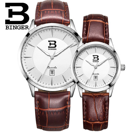 Binger accusative genuine watches belt business casual couple watch one pair of waterproof calendar on the table