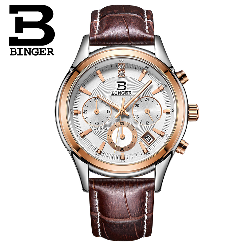 Binger accusative steel watches men's quartz watch three six needle watch stopwatch breeze leather belt male table rose gold flour
