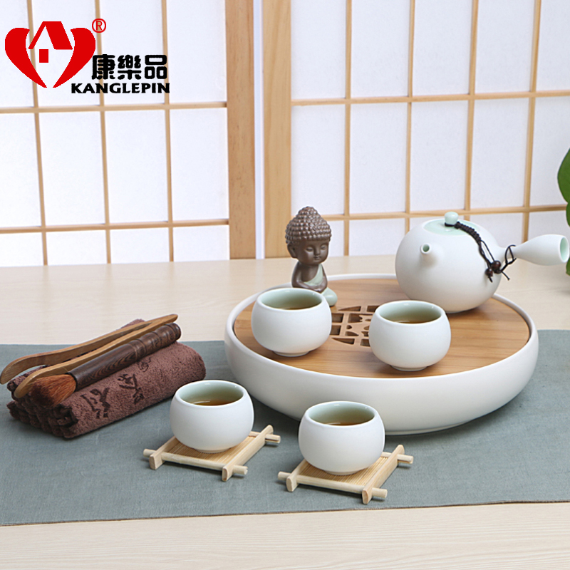 Binglie ceramic tea set package deals kung fu tea bamboo tea dry tea tray ceramic teapot cup kit