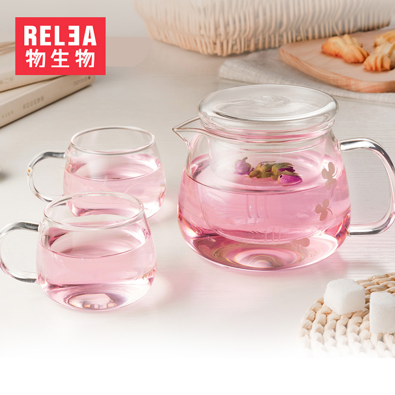 Biological material resistant high temperature glass teapot boiling teapot filter tea cup elegant glass tea pot set