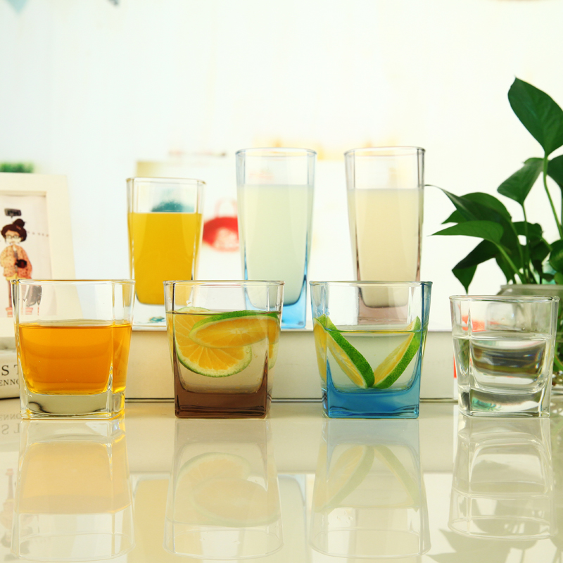 Bite resistant transparent glass cup glass beer mug cup creative color cup cup quartet