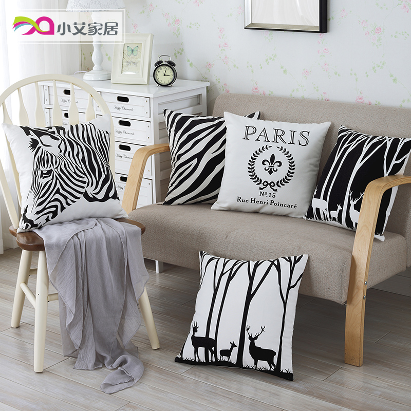 Black and white striped zebra pillow cover without the core of modern minimalist modern office sofa cushions car back