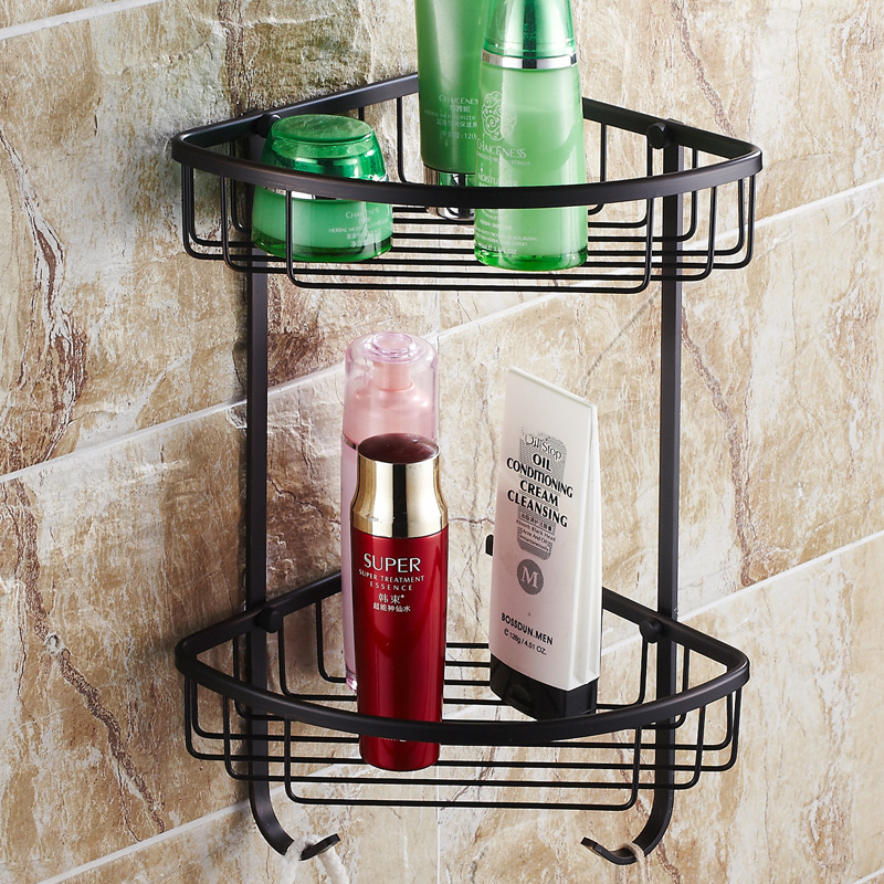 Black antique copper copper copper bathroom shelf bathroom corner basket tripod bathroom corner shelf
