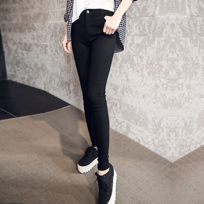 ... Black pants female feet large size high waist pencil pants female  trousers thin section of the