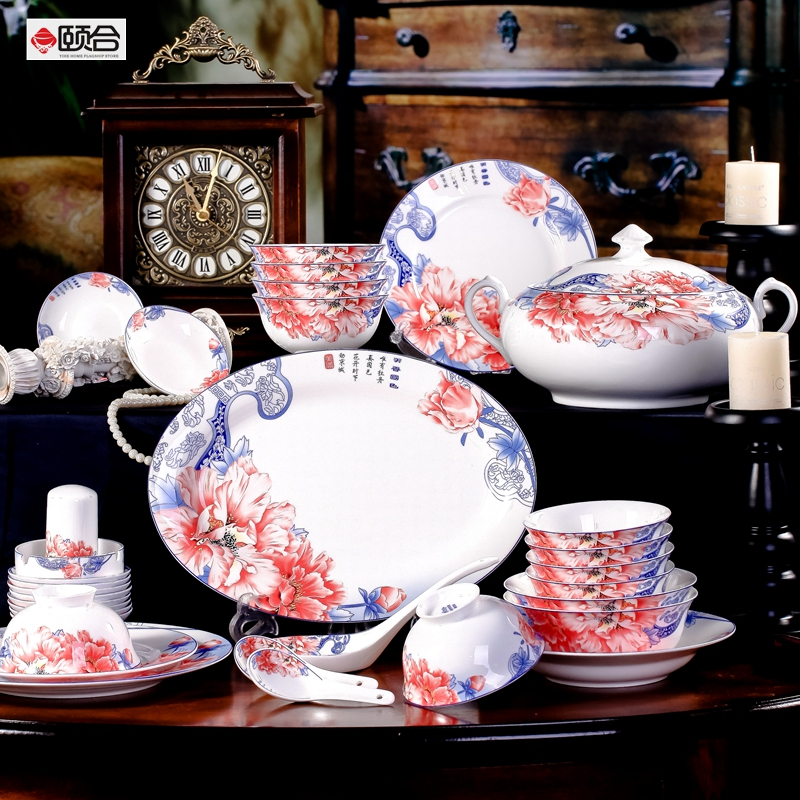 Blue and white porcelain in jingdezhen 56 bone china tableware send 2 bowl glazed blue and white peony ceramic dishes suit