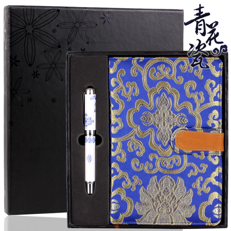 Blue and white porcelain pen + notebook 2 sets of practical gift ideas for business meetings gifts can be customized