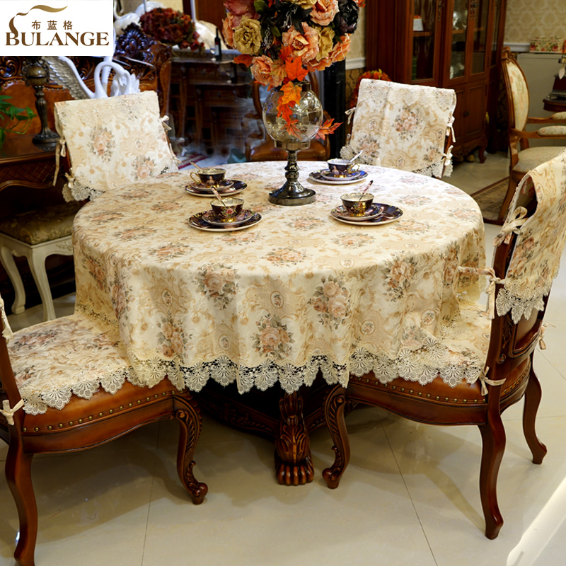 Blue dog cloth lace fabric upscale european luxury table cloth tablecloth round tablecloth tea table cloth upholstery coverings suit