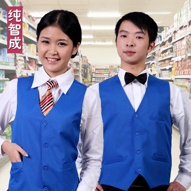 Blue female advertising printing volunteer vest vest vest supermarket cashier work vest vest waistcoat waiter