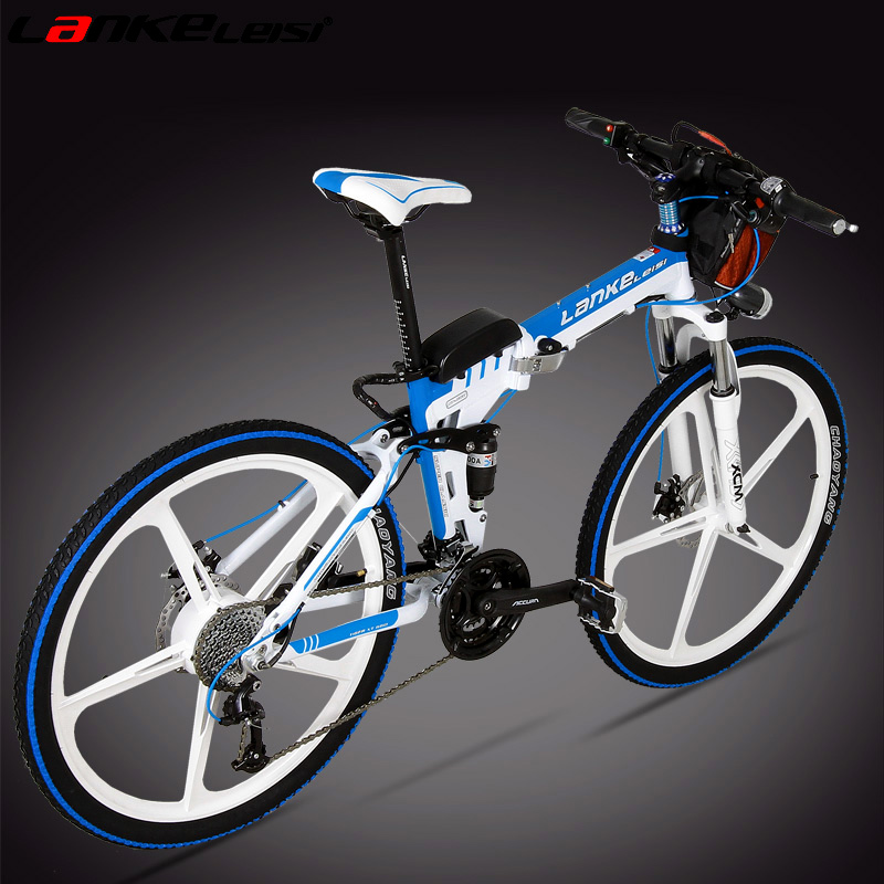 Blue kress 26 inch folding mountain bike aluminum one wheel lithium electric bicycle electric car